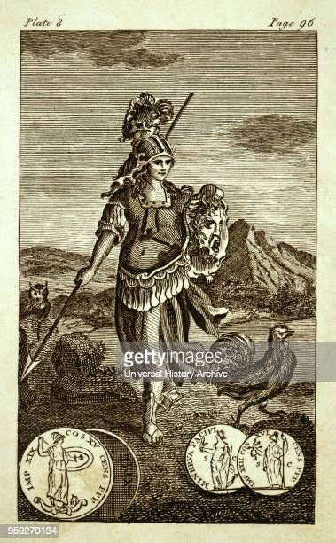 Engraving depicting the Greek Goddess Athena Athena the Goddess of wisdom handicraft and strategic war Dated 19th century