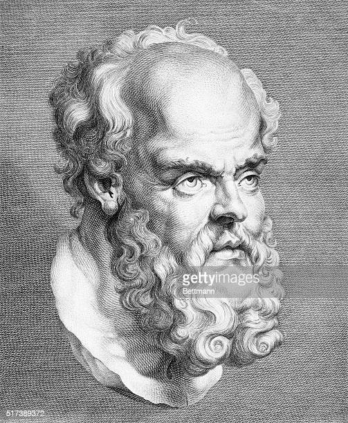 Engraving depicting the head of Socrates Greek philosopher Undated illustration
