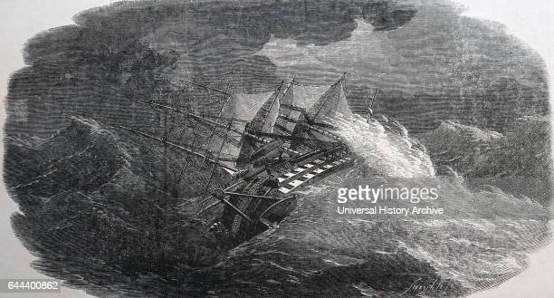 Engraving depicting the 'HMS Agamemnon' after laying down the cable for the Atlantic Telegraph Dated 19th Century