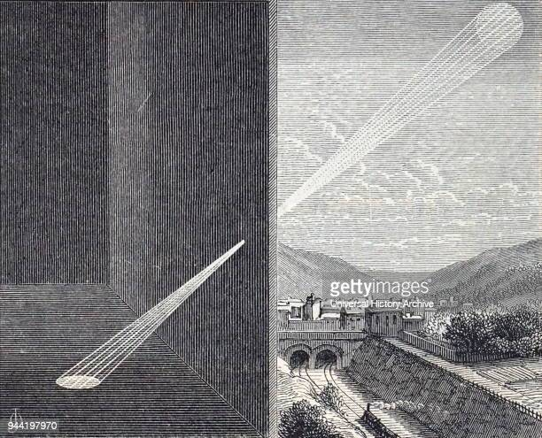 Engraving depicting the image of the sun being projected through the hole of a camera obscura Dated 19th century