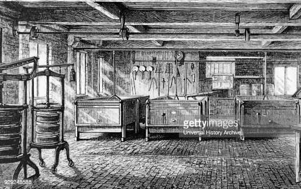 Engraving depicting the interior of the Brailsford Cheese Factory near Derby showing milk vats and cheese presses Dated 19th Century