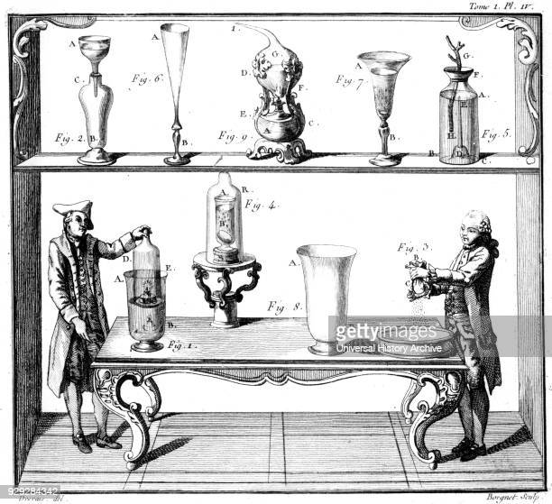 Engraving depicting the investigation of the impenetrability and permeability of various bodies Dated 18th Century
