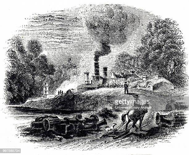 Engraving depicting the ironworks at Coalbrookdale. Dated 18th century.