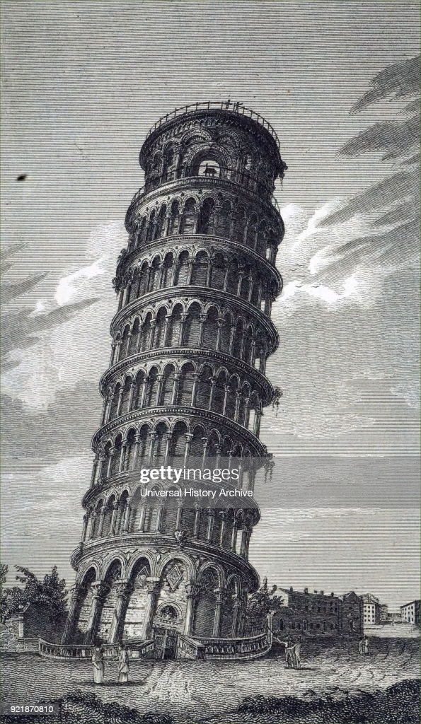 Engraving depicting the Leaning Tower of Pisa, or simply the Tower of Pisa is the campanile, or freestanding bell tower, of the cathedral of the Italian city of Pisa. Dated 19th century.