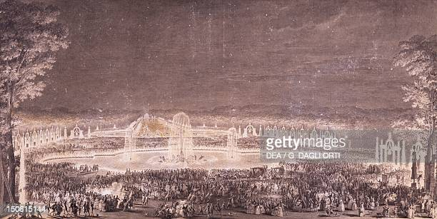 Engraving depicting the lighting of Versailles Park for the wedding of the Dauphin and Marie Antoinette in 1770 France 18th century
