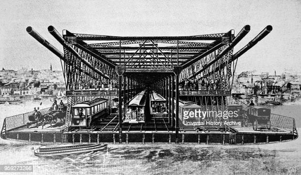 Engraving depicting the loading of railway wagons on to the ferry which linked Granton and Burntisland on the Edinburgh, Perth and Dundee Railway....
