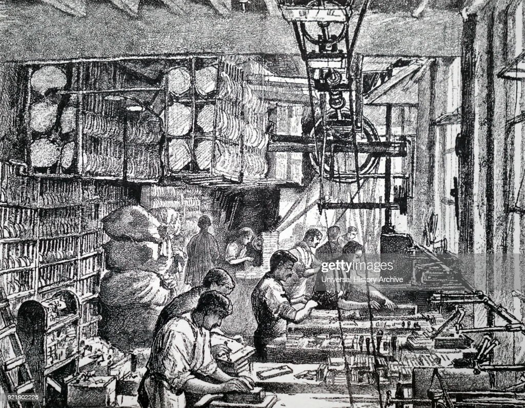 Engraving depicting the making of boxwood blocks for illustrations. Dated 19th century.