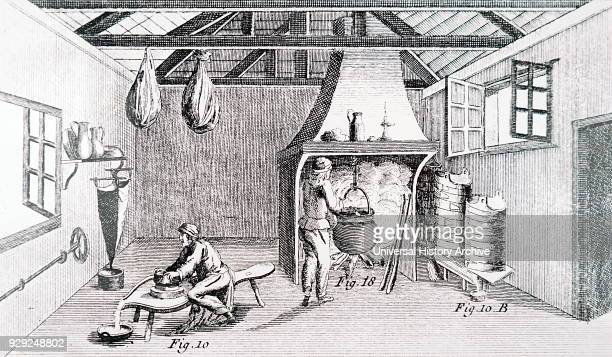 Engraving depicting the making of Cantal cheese in Auvergne a region in central France Dated 18th Century