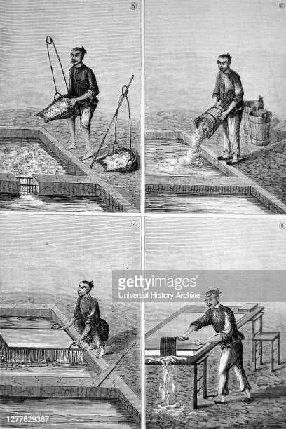 Engraving depicting the making of paper in China: 5) Putting bamboo pulp to steep 6) Adding lime to make an alkaline solution 7) Making sheet of...