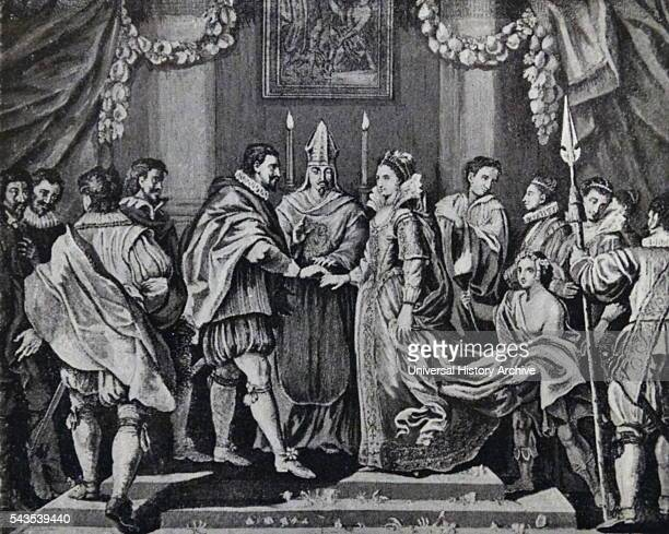 Engraving depicting the marriage of King Charles I and Henrietta Maria of France Queen consort of England Scotland and Ireland Dated 17th Century