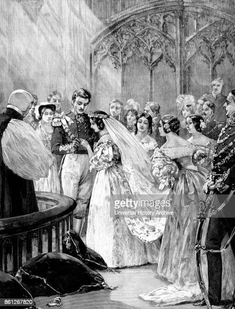 Engraving depicting the marriage of Queen Victoria and Prince Albert Dated 19th Century