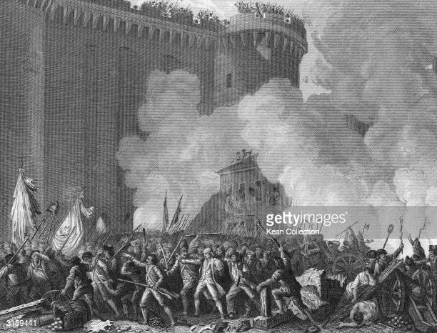 Engraving depicting the mass attack on the Bastille fortress igniting the French Revolution Paris France July 14 1789