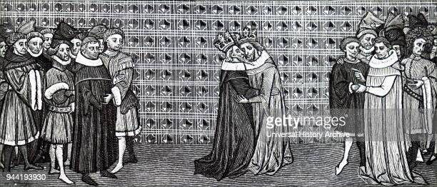 Engraving depicting the meeting of King Edward III and King Philip V of France Edward III King of England Philip V of France King of France and King...
