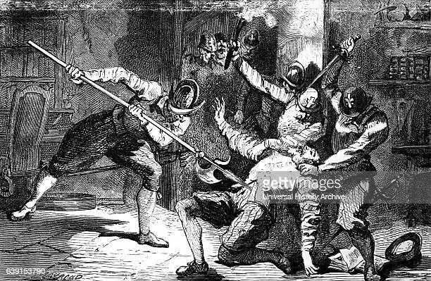 Engraving depicting the murder of Petrus Ramus an influential French humanist logician educational reformer and Protestant convert during the St...