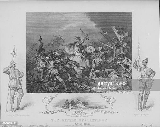Engraving depicting the Norman invasion of England during the Battle of Hastings October 14th 1066