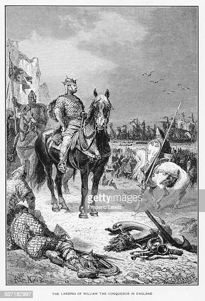 Engraving depicting the Normans and William the Conqueror landing in England 1066