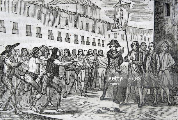 Engraving depicting the Oath of Zaragoza the capital city of the Zaragoza province and of the autonomous community of Aragon Spain Dated 19th Century