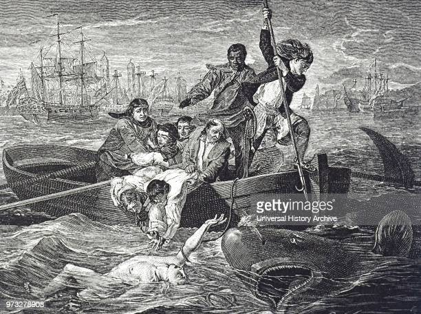 Engraving depicting the painting titled 'Watson and the Shark' a 1778 oil painting by John Singleton Copley depicting the rescue of the English boy...
