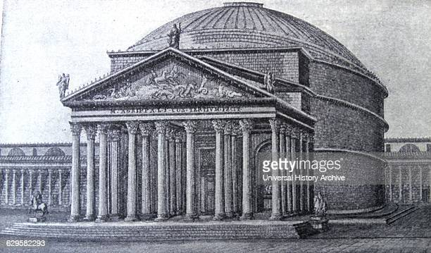 Engraving depicting the Pantheon a building in Rome Italy on the site of an earlier building commissioned by Marcus Agrippa during the reign of...