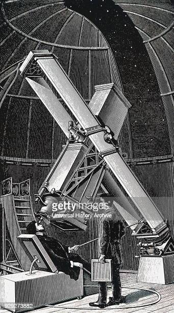 Engraving depicting the photographic telescope within the Paris Observatory Dated 19th Century