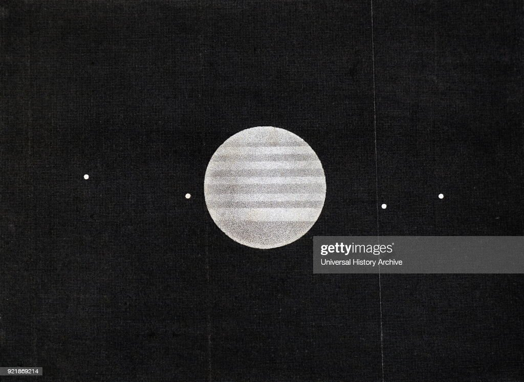 Engraving depicting the planet Jupiter. Dated 19th century.