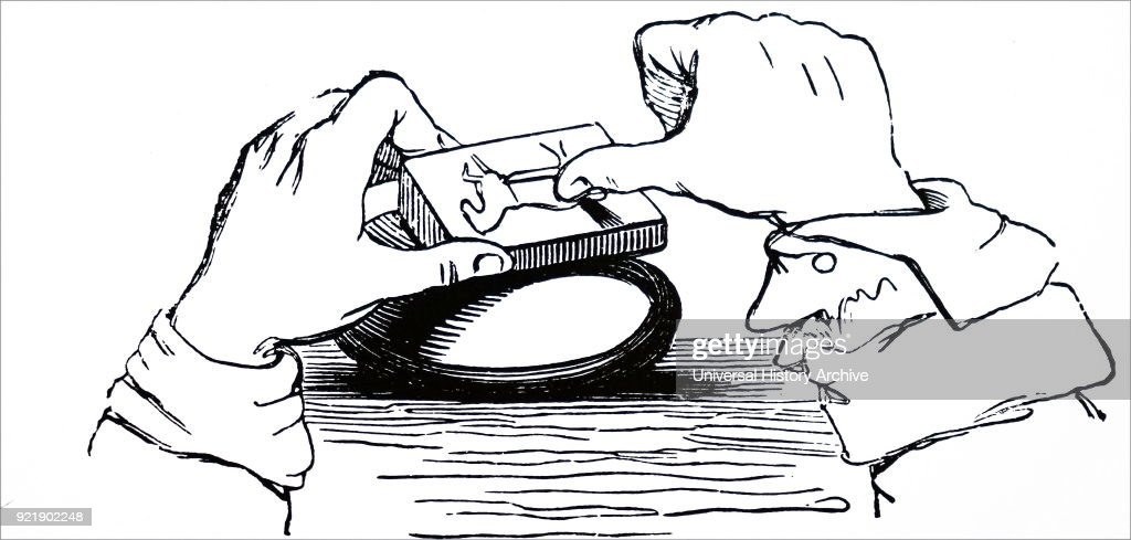 The preparation of a woodcut block. : News Photo