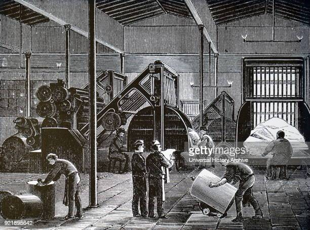 Engraving depicting the printing of The Times. The machines here are Walter perfecting presses which were installed circa 1871. Dated 19th century.