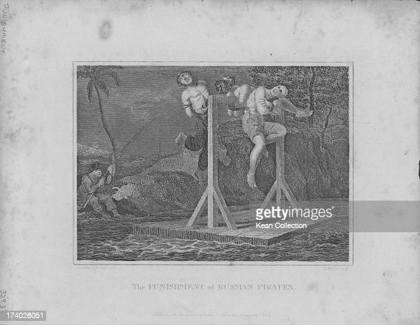 Engraving depicting the punishment of Russian pirates showing the pirates ties to wooden stocks in uncomfortable positions engraved by T Wallis...