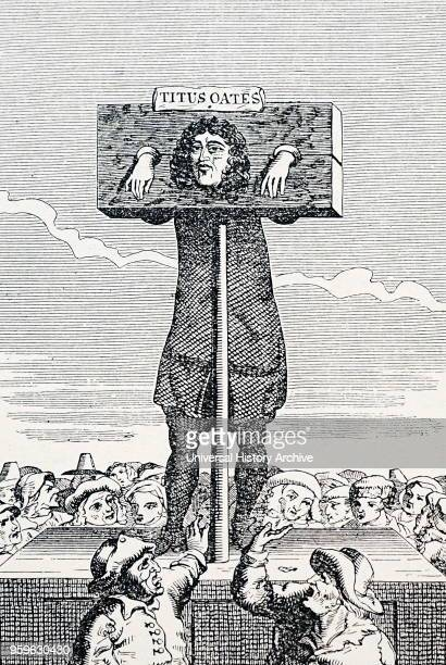 Engraving depicting the punishment of Titus Oates for perjury Dated 18th Century