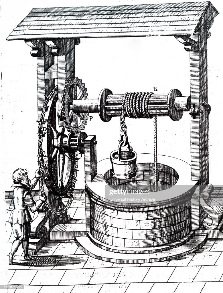 Engraving depicting the raising of a bucket of water from a well using a winch powered by a man operating a chain wheel D). Dated 17th century.