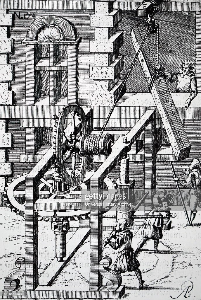 Engraving depicting the raising of a large piece of timber using a rope and pulley, and a man-powered windlass with tooth and pinion and crown and pinion. Dated 17th century.