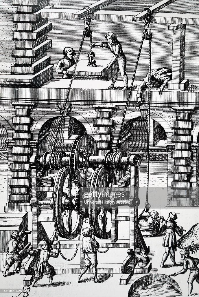 Engraving depicting the raising of a large slab of stone and mortar using a rope and pulley. The power from the man at the crank wheel is transmitted through gearing, including crown and pinion (E,F) and worm and pinion (M,H). Dated 17th century.