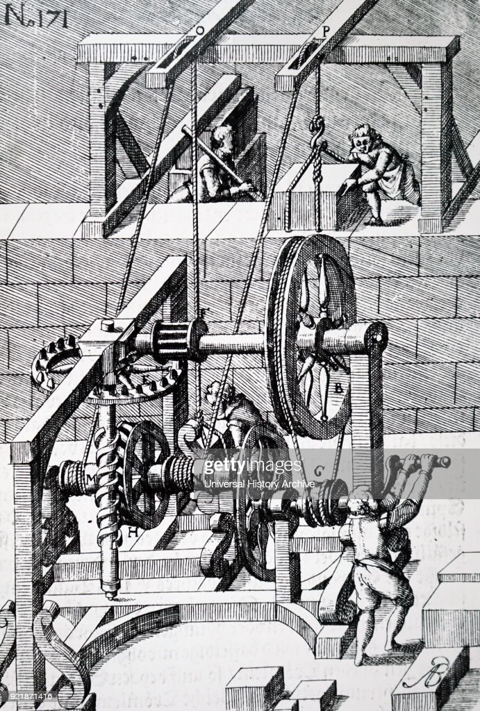 Engraving depicting the raising of a large slab of stone using a rope and pulley. The power from the man at the crank wheel is transmitted through gearing, including crown and pinion (E,F) and worm and pinion (M,H). Dated 17th century.