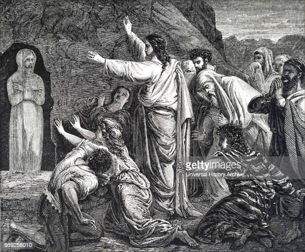Engraving depicting the raising of Lazarus Jesus raises Lazarus the brother of Martha and Mary from the dead after being deceased for 4 days Dated...