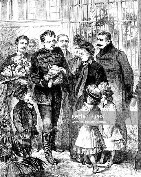 Engraving depicting the royal visit of Queen Victoria with some of her grandchildren to the Circus at Olympia London Dated 19th Century