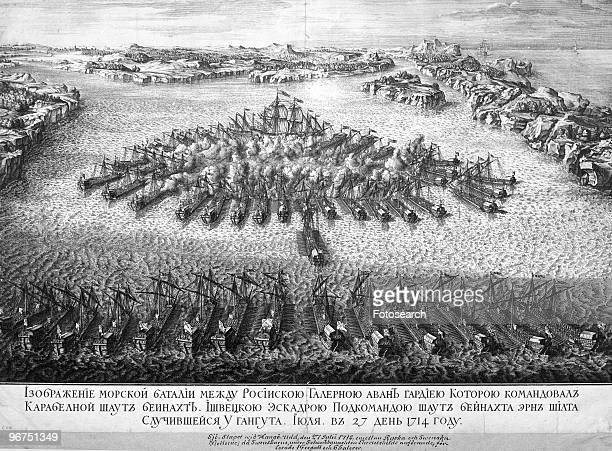 Engraving depicting the RussoSwedish naval battle off Cape Hango on the Baltic Sea in 1714 in which Peter the Great scored his first naval success...