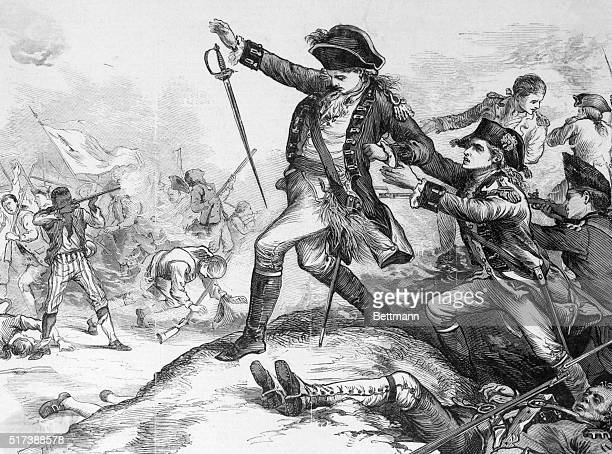 Engraving depicting the shooting of Major Pitcairn by the AfricanAmerican soldier Peter Salem at the Battle of Bunker Hill during the Revolutionary...
