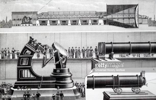 Engraving depicting the siderostat of the horizontal telescope Dated 20th Century