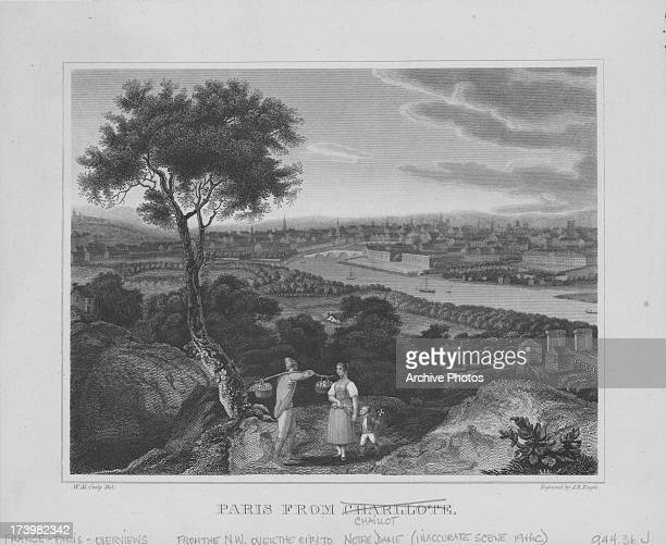 Engraving depicting the site of the Palais de Chaillot an area of Paris across the Seine on a hill in Chaillot a former village to the northwest of...