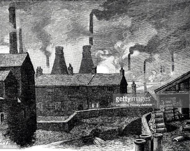 Engraving depicting the smoking chimneys of Sheffield Dated 19th century