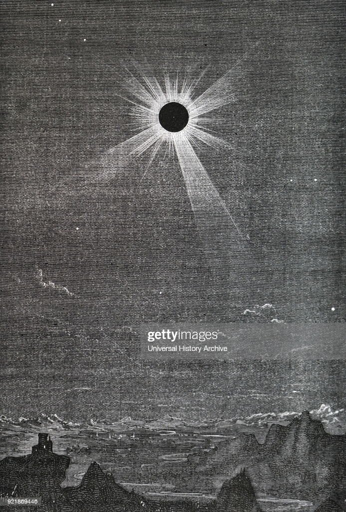 Engraving depicting the solar eclipse of 1878 as observed from the Rocky Mountains. Dated 19th century.