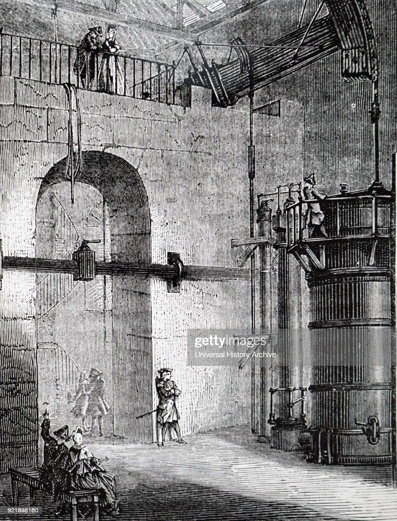 The steam powered pump at Chaillot, Paris. : News Photo
