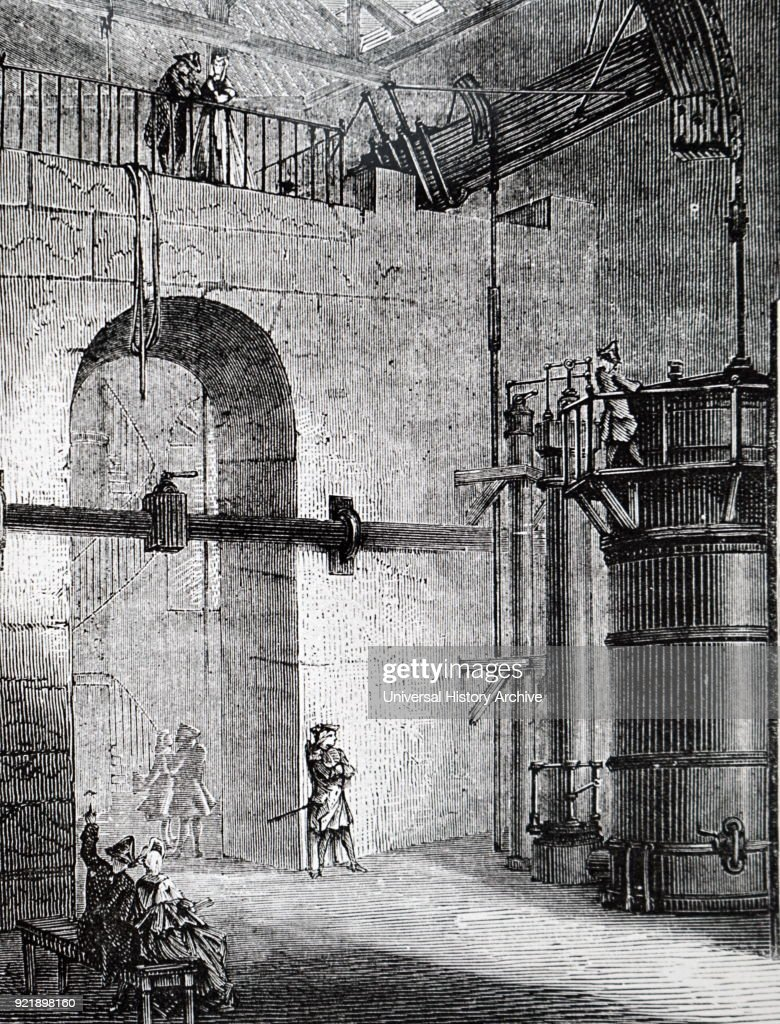 Engraving depicting the steam powered pump at Chaillot, Paris, built by the Perier brothers, circa 1775. Dated 19th century.