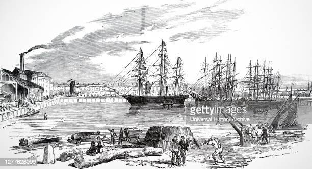 Engraving depicting the steamer 'John Bowes' in the collier dock of the East and West India Dock Railway.