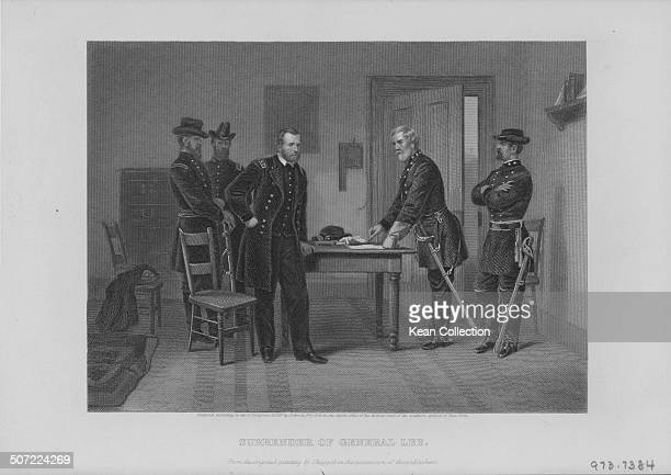 Engraving depicting the surrender of Confederate Robert E Lee to Union Commander Ulysses S Grant at Appomattox Court House Virginia April 9th 1884...