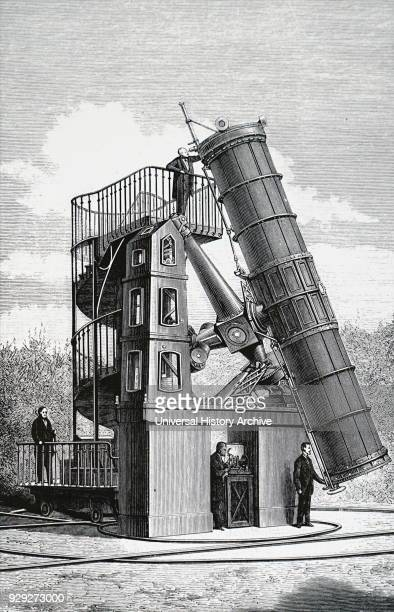 Engraving depicting the telescope of an observatory in Paris Dated 19th Century