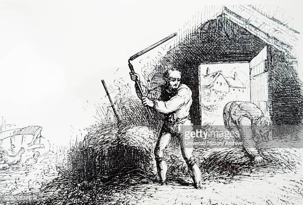 Engraving depicting the threshing of corn on a threshing floor using a hand flail Dated 19th Century