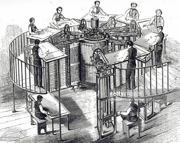 Engraving depicting The Times printing machine developed by Augustus Applegath. Augustus Applegath an English printer and inventor known for...
