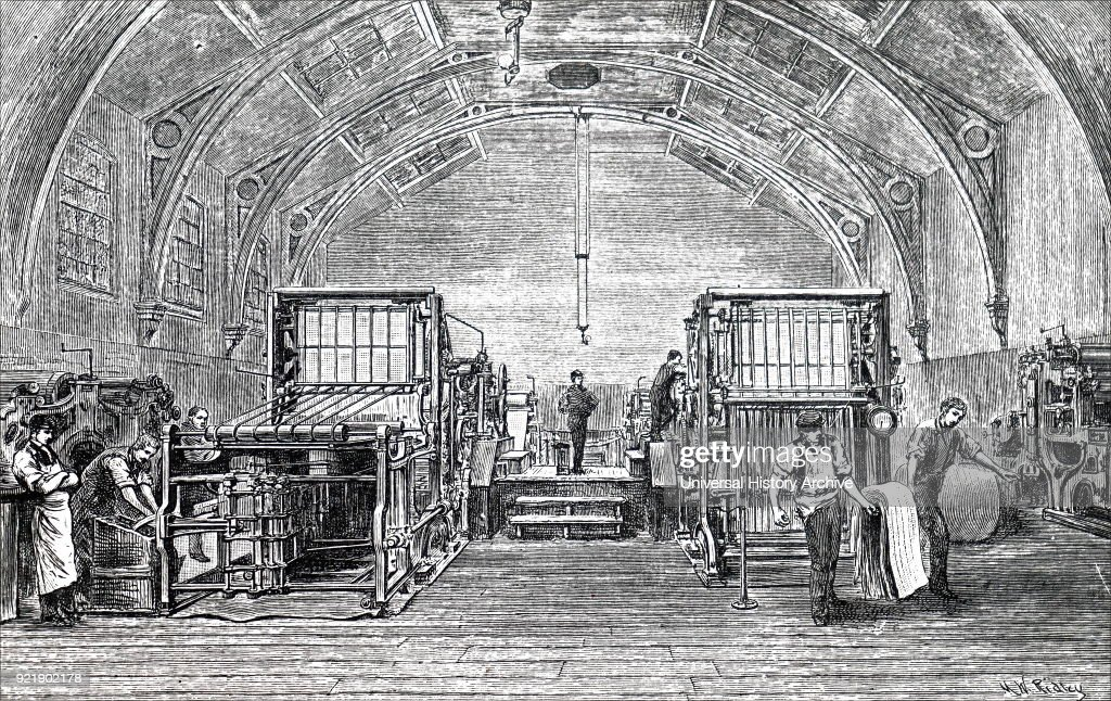 Engraving depicting The Times printing machine developed by Augustus Applegath. Augustus Applegath (1788-1871) an English printer and inventor known for developing the first workable vertical-drum rotary printing press. Dated 19th century.