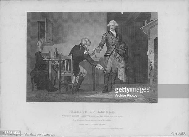 Engraving depicting the treason of Benedict Arnold for changing sides during the American Revolutionary War where Arnold persuades Andre to conceal...